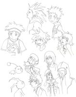 Kingdom Hearts 2 sketch dump by deleriumsedge