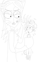 Mouse Victor and Cat Emily (No color) by TheBurtontickler13