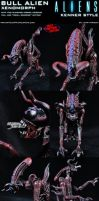 Custom Bull Alien Xenomorph Kenner Style Figure by MintConditionStudios