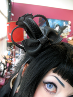 Black leather crown with bow by Neumorin