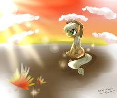 Applejack MLp gazing sunset by AquaGalaxy