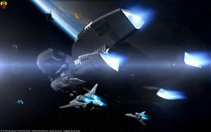 Battlestars Bomber Fleet by Euderion
