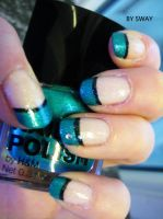 Turquoise and black nails by Toxic-Sway