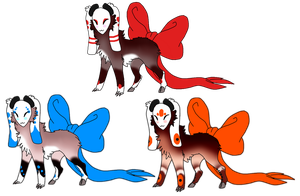.:Bow Tails Adopts-1 left:. by LeeOko