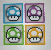 Hama Beads - 1UP coasters by acidezabs