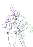 Quicksketch musicmeister and the riddler by pink-ninja