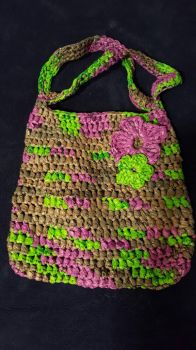 Crocheted plarn tote in lime  lavender by TamboPoteet