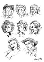 Female Head Sketches by ClaytonBarton