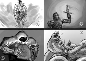 concept sketches for untold stories 1-4 by EricuchoValiente