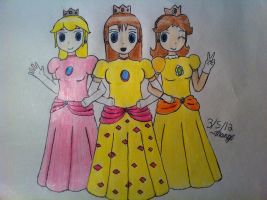 R: Princess Peach, Pikasia, and Daisy by mango-chan88