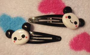 Cute Little Panda Hair Clips by Panduhmonium