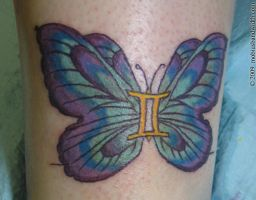 gemini butterfly tattoo by J-Mobius