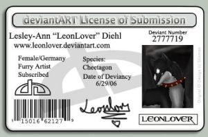 Deviant Art License by LeonLover