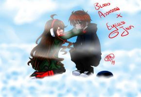 In winter w/ Eyeless Jack n Blood Assassin colored by tailsfan1996