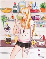 Witchy Art Challenge D21 KITCHEN WITCH by Mashiiro