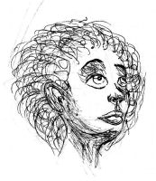 Random shaded afro hair woman by OzzieScribbler