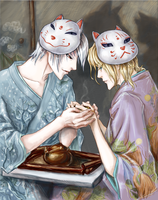Kitsune and Bakeneko by Vitcer