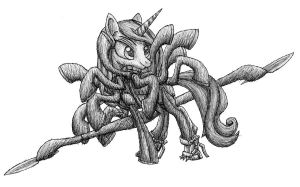 Pony Gear Rising - Fleur De Lis pen sketch by MetaDragonArt