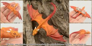 Realistic Flame Dragon Hatchling Hairclip by Chaotica-I