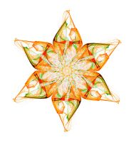 Orange Art Nouveau flower by PaulineMoss