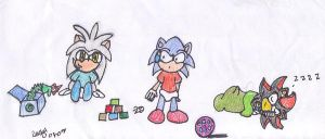Babies Sonic Shadow and Silver by Rachelthehedgehog