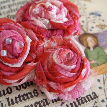 Gauze fabric flowers pin by MadelinesWardrobe