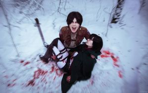 Winter cosplay: Mikasa and Eren #2 by Tovarish-N