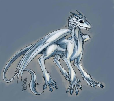 Bluehorn feathered dragon by neurowing