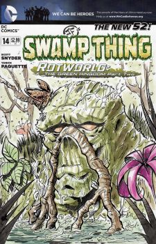 Swamp Thing - Sketch Cover in Watercolors by josesartcave