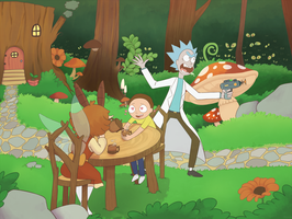 Rick and Morty in Wonderland by Phoelion