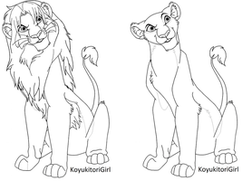 Free Lion and Lioness Line art by KoyukitoriGirl