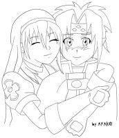 Chrono and Rosette lineart by ayako-chibi-chan