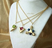 Kokiri Emerald Goron Ruby Zora Sapphire Pendants by TorresDesigns