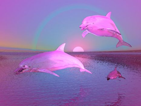 Flying Dolphins Water Fantasy by ThirdMillennium