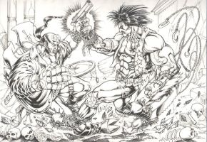 Hellboy vs Lobo by eriktorres