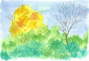 Comes a the autumn - watercolour and pencil by Ingrem48