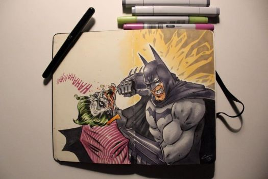 batman vs joker by canthebaran