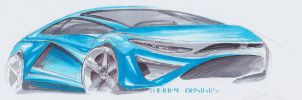 Car Sketch 25 (Copic) by WoofyDesigns