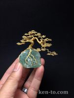 Gold cascade wire bonsai tree sculpture by Ken To by KenToArt