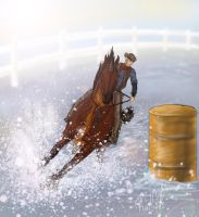 Barrel racing by LadyKallisto