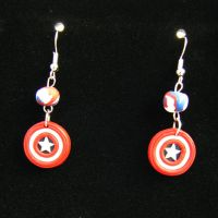 Captain America Shield Earrings. by wasabeads