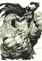 Batman vs Clayface Sketch by aaronlopresti