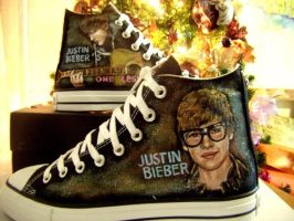Customized Justin Bieber shoes by alcat2021