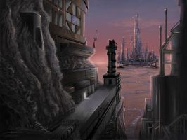 SciFi cityscape by seriousx9