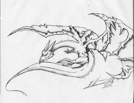 Sketched Dragon Tattoo by kidvicious