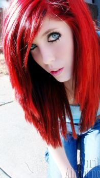 Neon Red Hair by kittybaby414