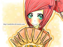 Girl Holding Fan Colour by CandyElmo