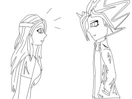 July and Yami/Atem lineart by pispispis