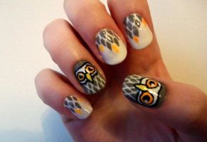 Grey Owl Nails by kaylamckay