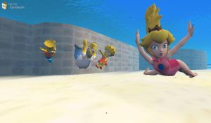 Homer, Bart, Lisa, and Peach's Swimming Lesson by hmcvirgo92